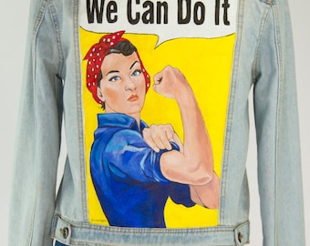 Rosie the Riveter Hand Painted Denim Jacket