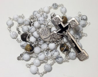 Stations of the Cross Rosary in White and Silver