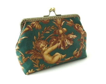 Cupido makeup bag angel on green clutch cotton fabric frame pouch kiss lock clasp green bag bronze purse frame