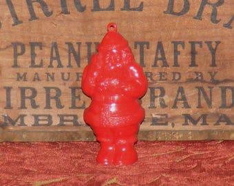 Vintage Christmas Red Plastic Santa Claus Ornament Decoration