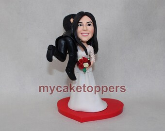 wedding Cake toppers bride carrying groom