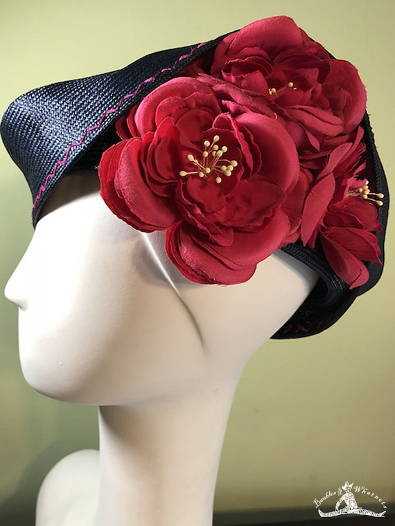 Straw Cloche Hat - Navy Blue Straw Hat with Hot Pink Flowers - Spring Summer Straw Women's Hat - Women's Derby Ascot Hat - OOAK