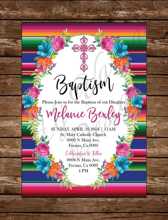 mexican fiesta girl baptism printable invitation mexican