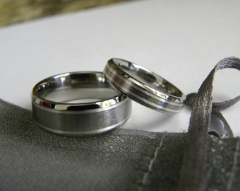 Matching Rings, Titanium with Silver Inlay Ring Set, Wedding Bands