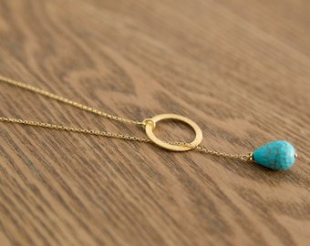 Gold circle Y necklace, Karma turquoise layering necklace, hoop chain pendant, sterling silver, minimalist jewelry , December birthstone