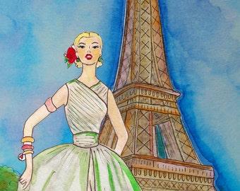 Jadore Vintage Paris III- Watercolour Painting Print