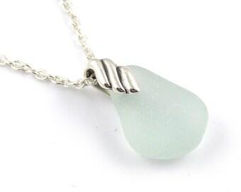 Sea Glass Necklace, Pale Blue,  REESE, Sea Glass Pendant, Sea Glass Jewelry, Recycled Glass, England, Minimalist Jewelry