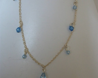 Blue ankle chain, swarovski pearls.