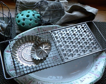 "Antique FRENCH Bakery Perforated Pierced Long 12 1/2"" Handled Wire/w Zinc Appetizer Trivet, Photogenic Props, No Rust or Old Grease"