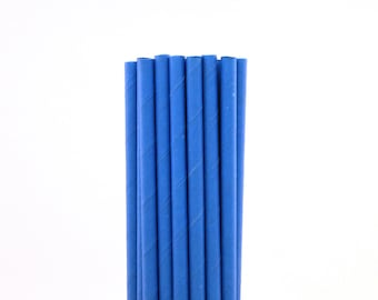 Solid Bright Blue Paper Straws-Solid Color Paper Straws-Birthday Straws-Police Party Straws-Bright Blue Paper Straws-Paper Drinking Straws
