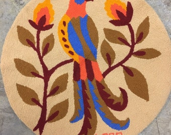 Vintage signed round bird textile by Tere