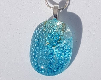glass pendant - blue bubbles - unique jewellery - unusual jewellery - fused glass - handmade - sea -beach