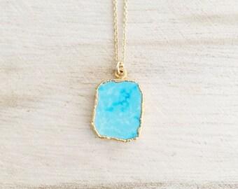 Turquoise gemstone necklace, turquoise, turquoise necklace, gemstone necklace, layering necklace, gold necklace