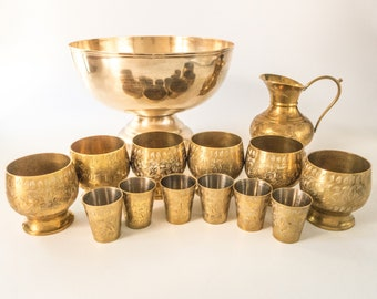 Vintage Brass Punch Bowl Set Shot Glass Drink Set With Punch Bowl Pitcher And 12 Cups Gold Hollywood Regency