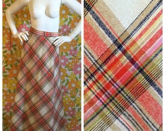 SALE! 70s Vintage Plaid Wool Maxi Skirt Small Medium