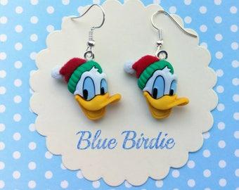 Disney Christmas earrings Disney jewelry Donald Duck earrings Donald Duck Christmas earrings Disney Christmas jewelry gifts Donald Duck gift