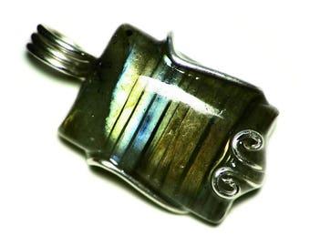 Labradorite Necklace Sterling Silver, Orange Labradorite Pendant in Argentium Silver Wire Wrap, Rainbow Labradorite Jewelry Striped Stone