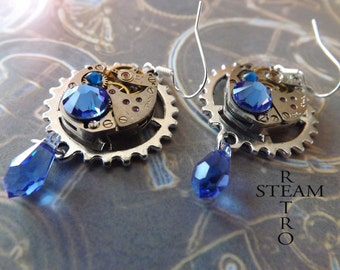 Vintage Watch Movement Steampunk Swarovski Crystal Saphire Earrings - Steampunk Jewelry - Christmas gift