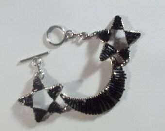 Vintage Bugle bead Stars and Moon Bracelet