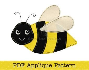 Bumblebee Applique Template Cute Bee Applique Pattern PDF File DIY Make Your Own Applique