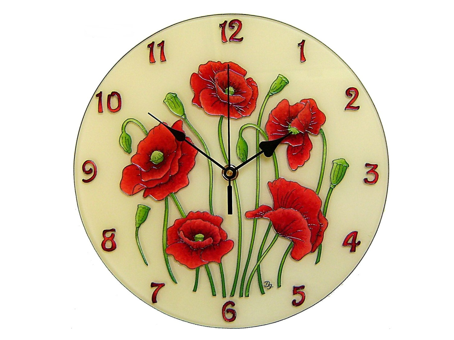 Poppy Silent Wall Clock Red Floral Romantic Flower Artwork
