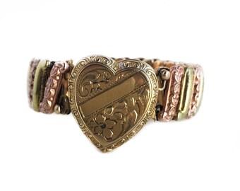 Vintage Expansion Bracelet - WWII Era 1940s 12k Gold Filled Geart Locket - Sweetheart Bellavance Jewelry