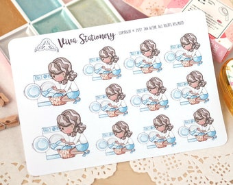 Kawaii Girl Laundry Day ~Vashti~ Stickers for your Life Planner, Diary, Journal, Scrapbook...