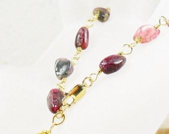 Tourmaline Bracelet, Raw Tourmaline Stones, Gold Fill, Wire Wrapped Gemstone Bracelet, Boho, Gifts for Her, Natural Tourmaline