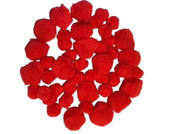 50 Red Pom Poms For Craft 25mm and 40mm