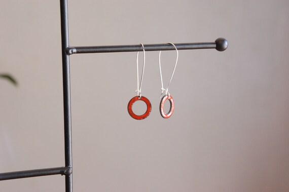Red Enameled Circle Earrings