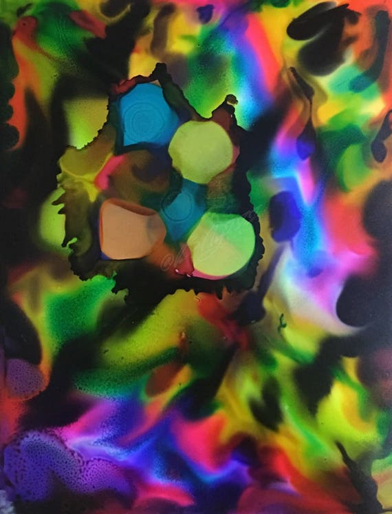 """Original Alcohol Ink Abstract Painting: """"Electric Circus"""" (11"""" X 14"""")"""