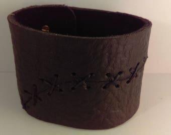 Black Bull Hide Leather Cuff Bracelet, 1 Sewn Cut w/ 2 Stud Closures