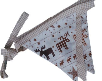 Brown Reindeer, Beige Check Double Sided Christmas Bunting