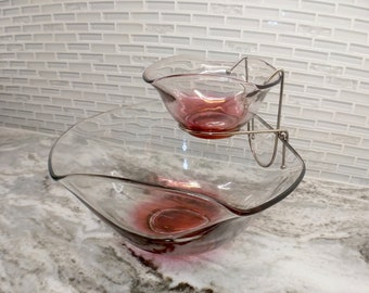 Vintage Indiana glass chip and dip set, ruby red chip and dip set, midcentury chip and dip, mid century dip set