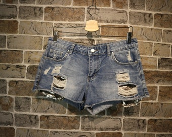 Summer Sequenced Frayed Shorts M/38