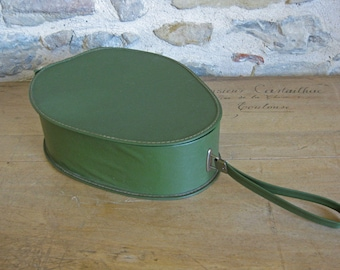 Green French train case pear shaped vinyl vanity case