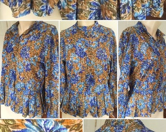 1960s Blue and Yellow Floral Blouse with Pleated Peplum!