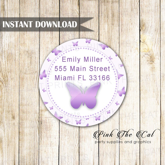 lavender butterfly address label purple butterfly return