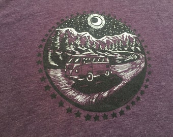 VW Bus in the Mountains Men's Shirt on Purple Triblend