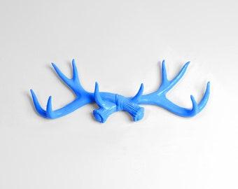 Cobalt Blue Faux Antler Mount - Antler Wall Rack - Antler Wall Hook - Resin Antler Wall Decor