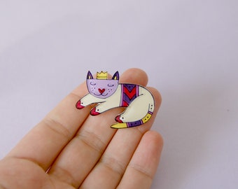 Cat brooch, sleeping cat, animal jewelry, cute cat illustrated jewerly