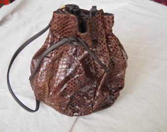 Snake Skin Vintage Purse Drawstring Bag Vintage