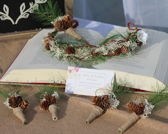 Woodland floral crown and boutinnere set