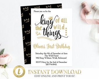INSTANT DOWNLOAD Where The Wild Things Are Birthday Invitation, Wild Things Birthday Invitation, Wild Things Invite, Max, Wild Rumpus, Black