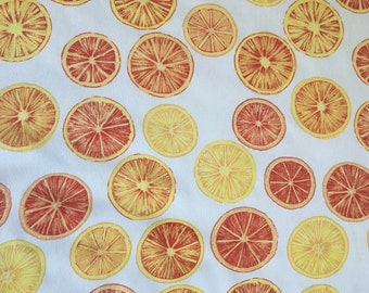 Orange and Lemon Slices Rayon Crepe Fabric by the Yard, Fabric by the Yard, Rayon Yardage