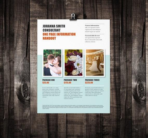 One Page Brochure Design Brochure Template Marketing