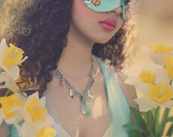 Lady of March Aquamarine and Daffodil Leather Mask - Limited Edition of 10 Floral Flower Art Nouveau Mardi Gras Masquerade