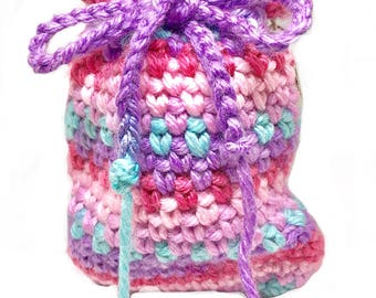 Coin Purse, Drawstring Keychain with Silver Jumpring, Coloful Mini Keychain