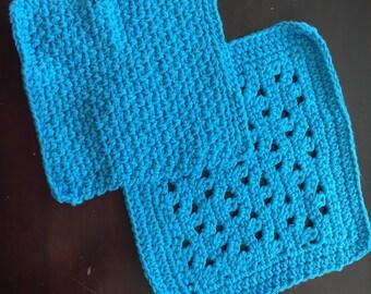 Crochet Textured Dishcloth Washcloth - Set of Two (2) - 100% cotton