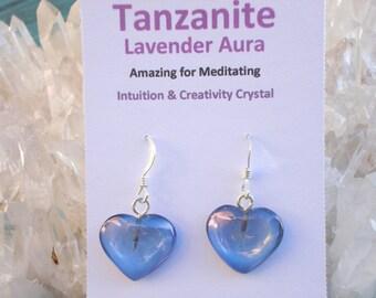 Tanzanite / Lavender  Aura Heart Earrings - Pure Joyful Energy-  A Grade !  Beautiful